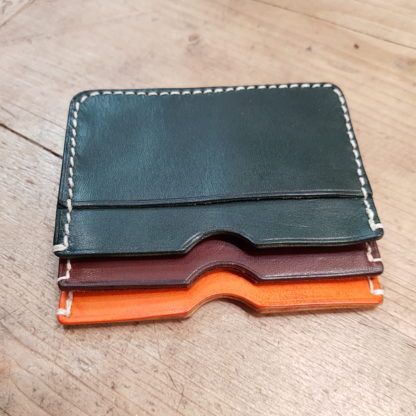 Green, chocolate, tangerine leather card cases