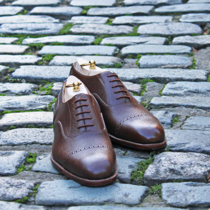 bespoke shoes made in London in brown grain calf
