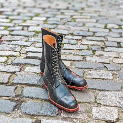 hand stitched green derby boots for winter