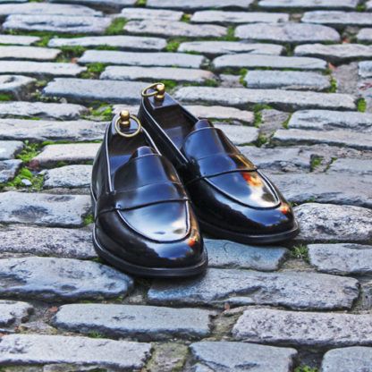 black loafers hand stitched in London