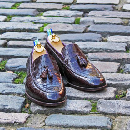 bespoke crocodile skin loafers