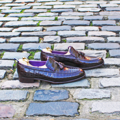brown crocodile loafers