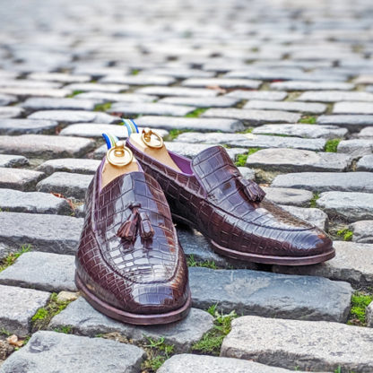 crocodile loafer with tassels