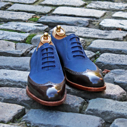 blue and brown two tone oxford shoe