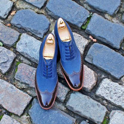 canvas and leather two tone oxford shoe