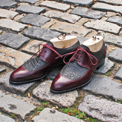 bespoke saddle derby shoe in elephant and calf