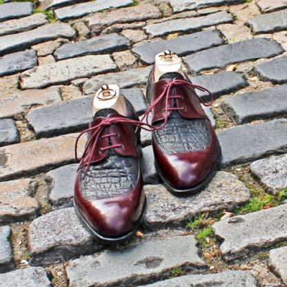 bespoke derby shoes in detail