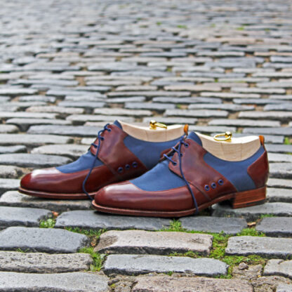 two tone derby shoe in leather and canvas