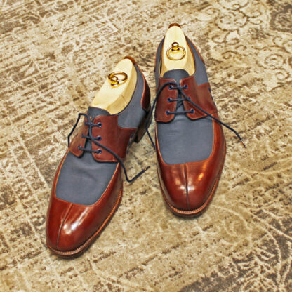 new bespoke derby shoes in leather and canvas