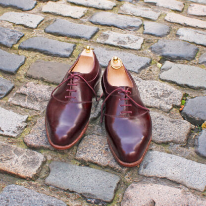 bespoke oxfords in burgundy leather