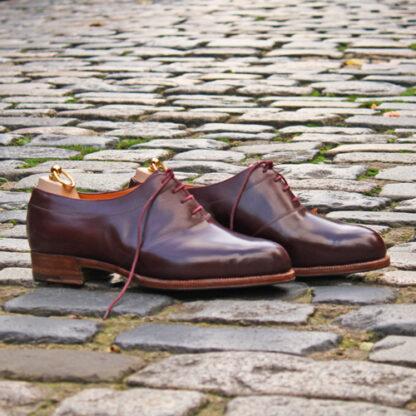 saddle oxford shoe in burgundy box calf