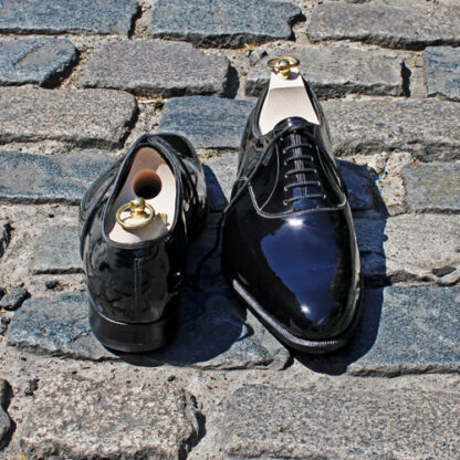 black patent oxfords with bespoke trees