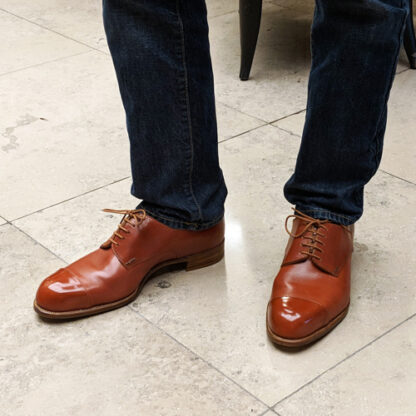 bespoke derby shoes being worn